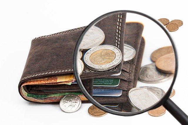 Peněženka, peníze, lupa