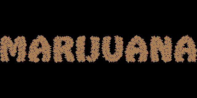 nápis marihuana z listů konopí
